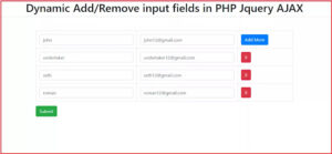 Dynamic Add/Remove input fields in PHP Jquery AJAX, Dynamically Add / Remove input fields in PHP with Jquery Ajax,PHP - Dynamically Add Remove input